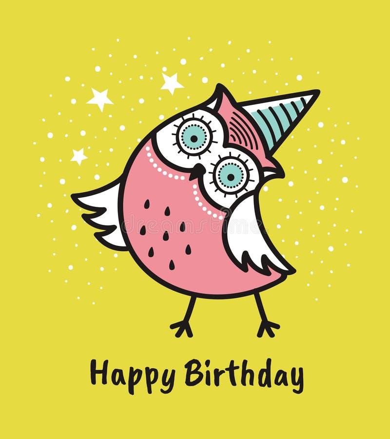 Gullig hand dragen uggla med citationstecken lycklig födelsedag vektor illustrationer