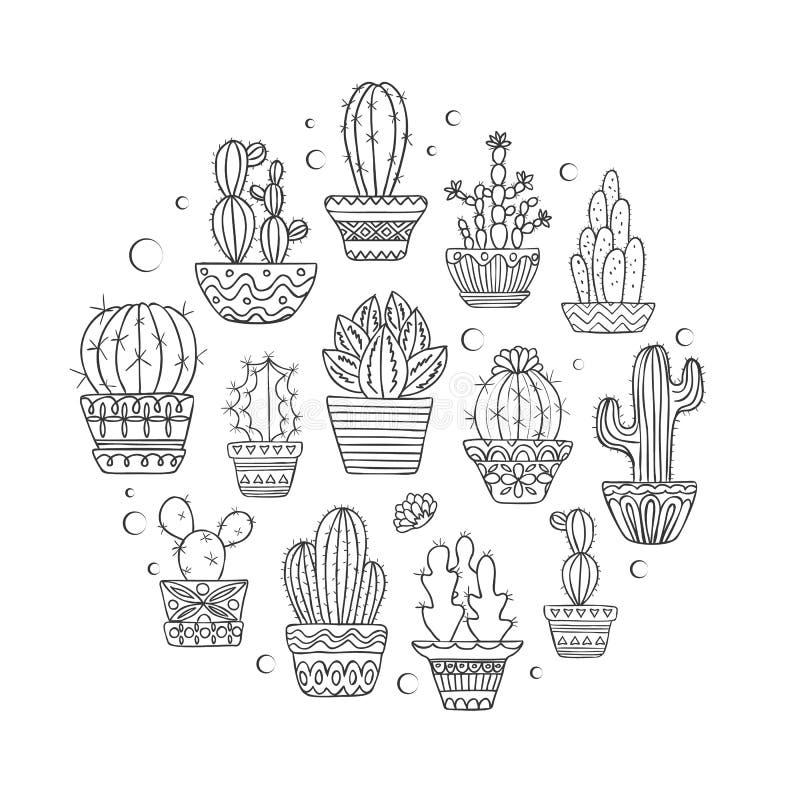 Gullig hand dragen vektorcactuseuppsättning stock illustrationer