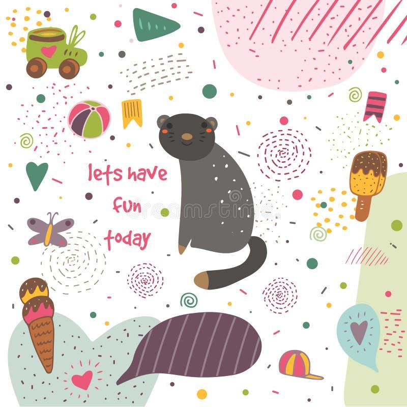 Gullig hand dragen vykort med den svarta katten stock illustrationer