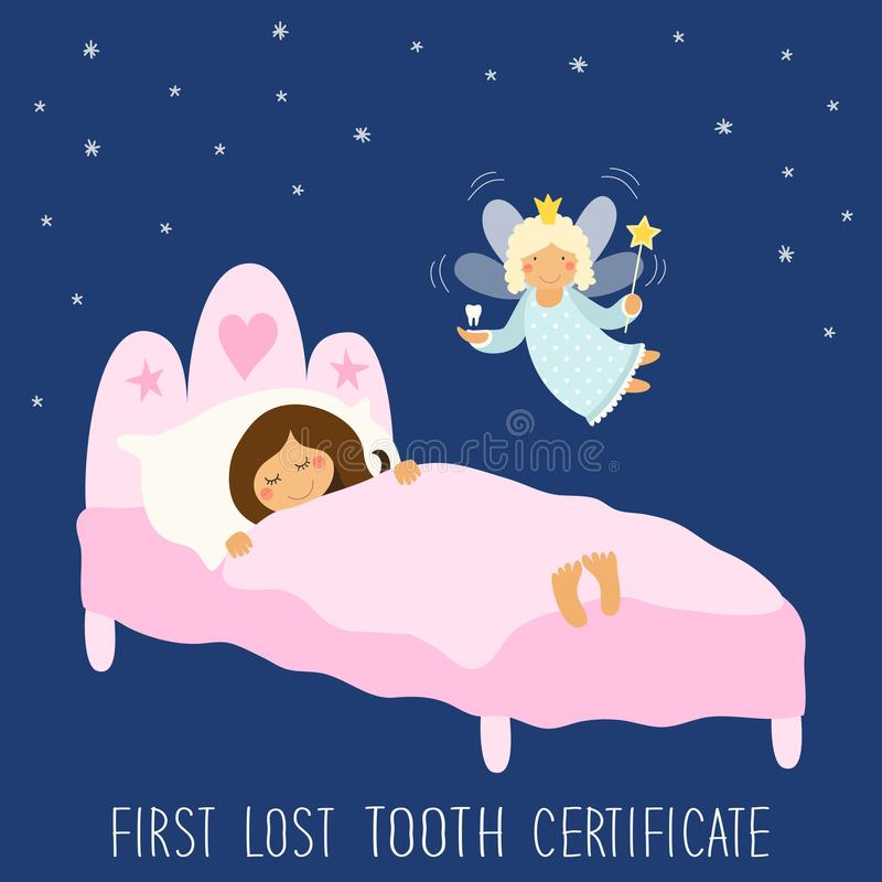 Gullig hand dragit första borttappat tandcertifikat som sova ungen och det roliga le tecknad filmteckenet av tandfen royaltyfri illustrationer