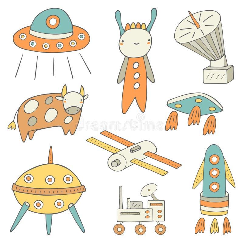 Gullig hand dragit klotterutrymme, kosmisk objektsamling royaltyfri illustrationer