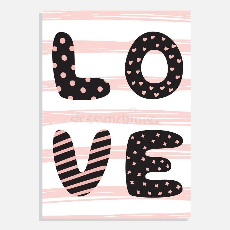 Gullig hand dragit kort för vektor för dag för St-valentin` s royaltyfri illustrationer