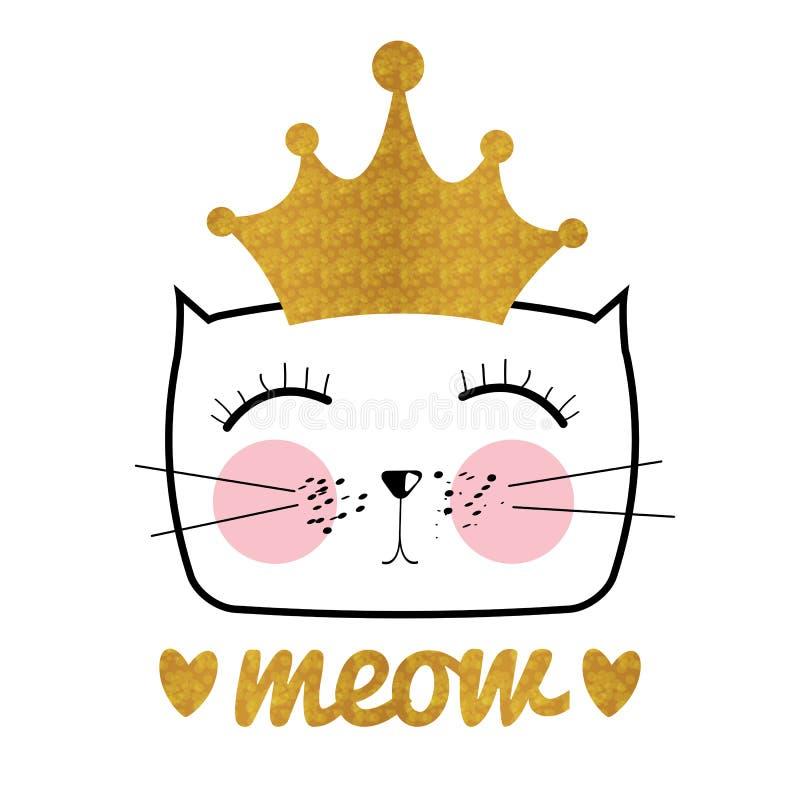 Gullig hand drog Cat Vector Illustration Liten prinsessa med CR vektor illustrationer