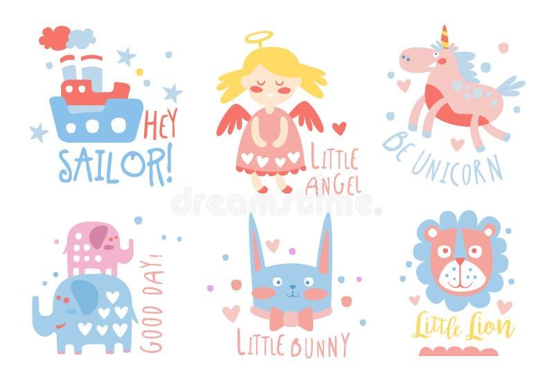 Gullig hand drog dekorbeståndsdelar med text, sjöman, ängel, enhörning, liten kanin, kortmallar för baby shower, ungar royaltyfri illustrationer
