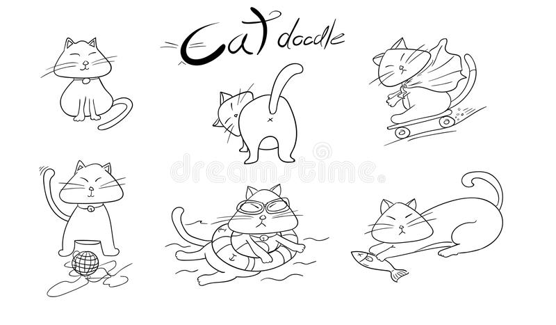 Gullig hand tecknade katter illustration för klotterdjurvektor royaltyfri illustrationer