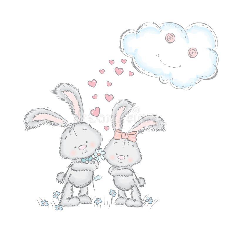 Gullig hare i vektorn Ungharepar på ett datum Hälsningskort med kaniner stock illustrationer