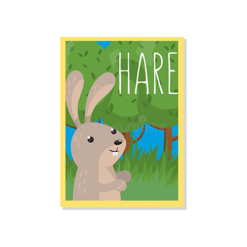 Gullig harevektorillustration med skogsmarkdjuret, designbeståndsdel för banret, reklamblad, plakat, hälsningkort, tecknad film vektor illustrationer