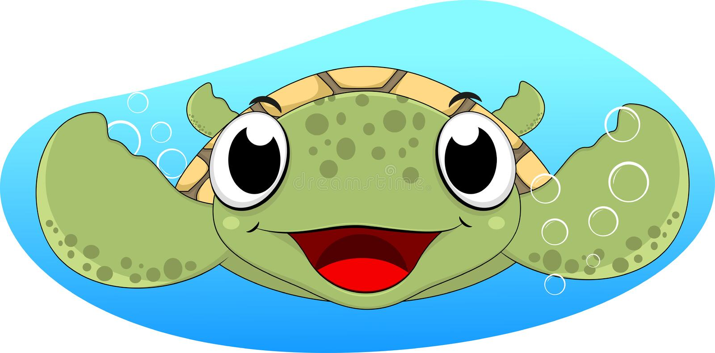 Gullig havssköldpaddasimning stock illustrationer