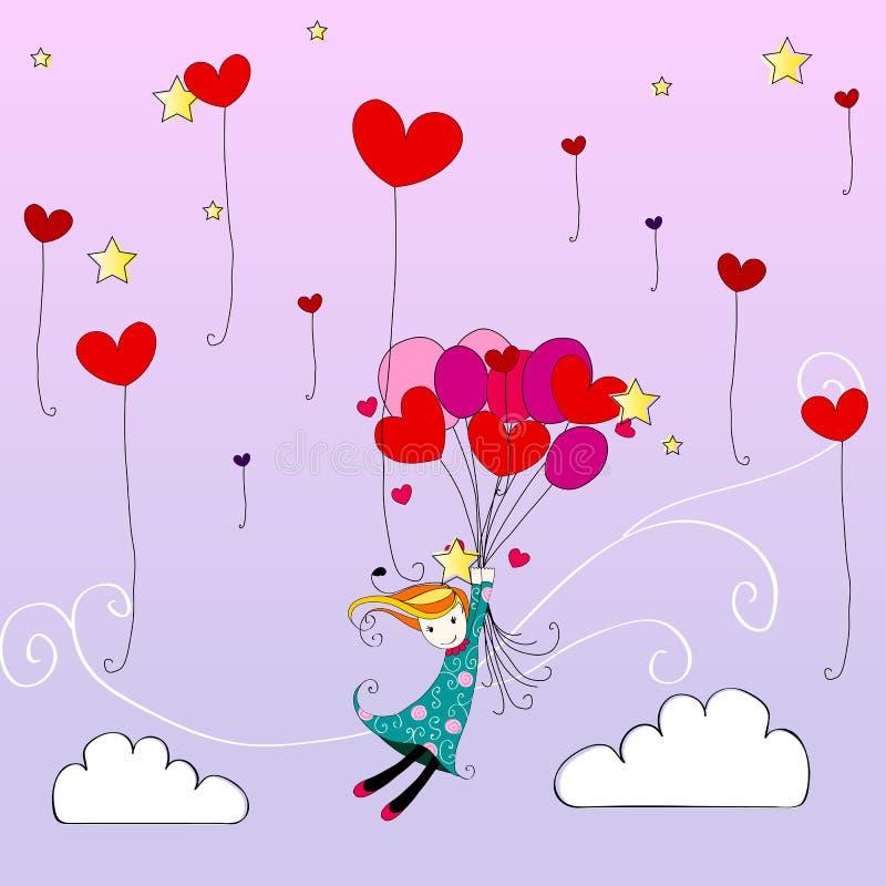 gullig heartshaped flygflicka för away ballonger royaltyfri illustrationer