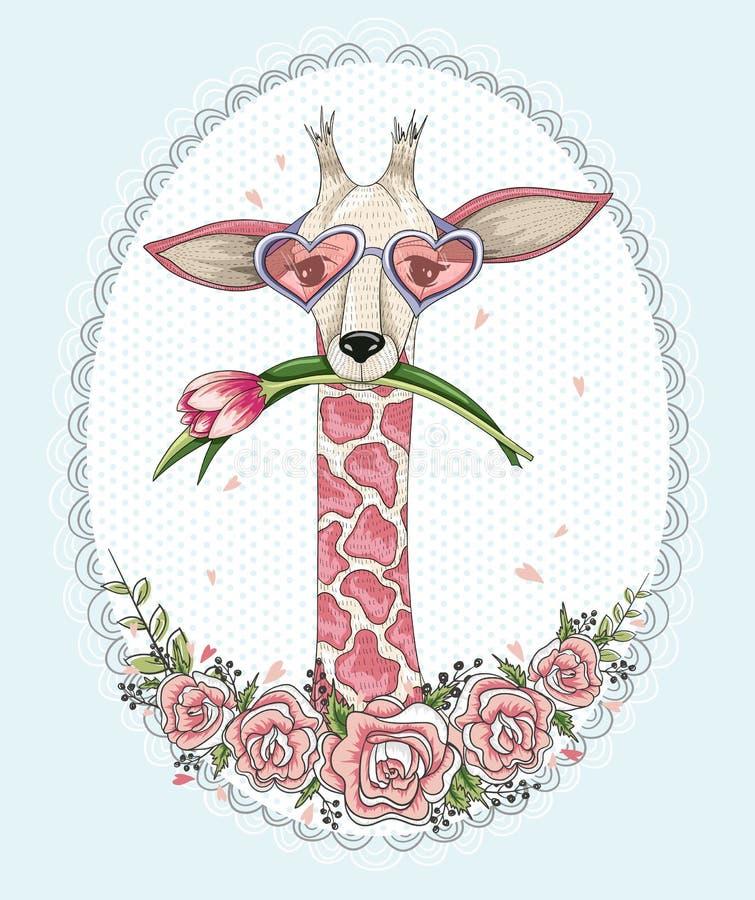 Gullig hipstergiraffbakgrund royaltyfri illustrationer