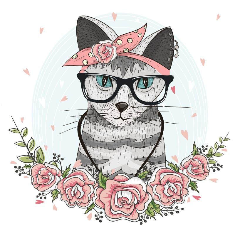 Gullig hipsterkatt med exponeringsglas, halsduken och blommor stock illustrationer