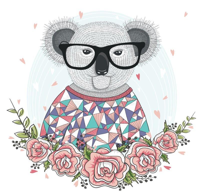 Gullig hipsterkoala med exponeringsglas vektor illustrationer