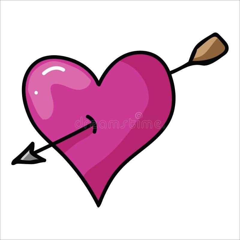 Gullig hjärta med illustrationen för piltecknad filmvektor royaltyfri illustrationer