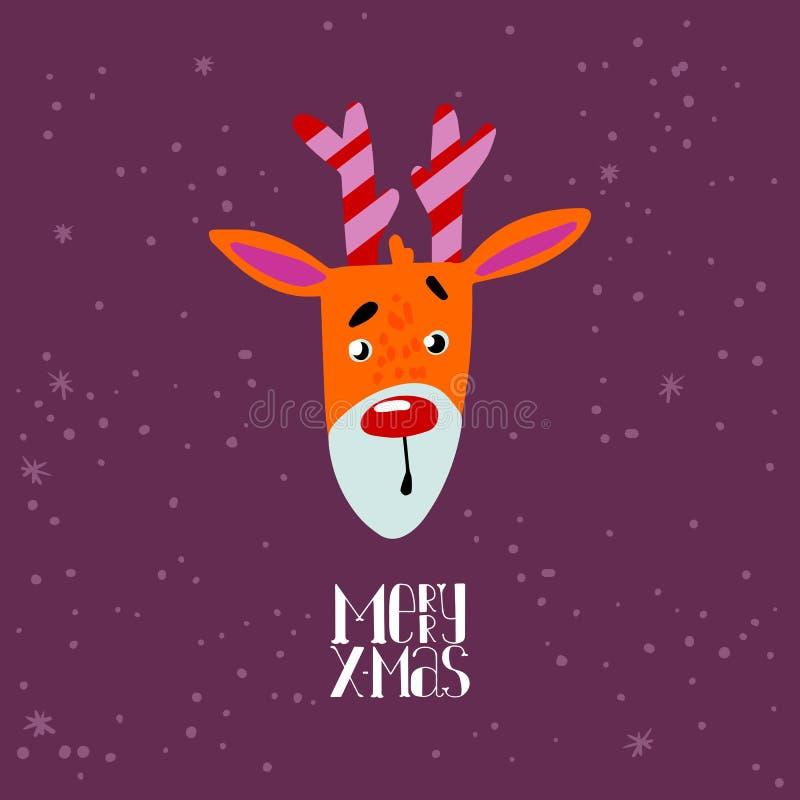 Gullig hjorttecknad film för glad jul vektor illustrationer