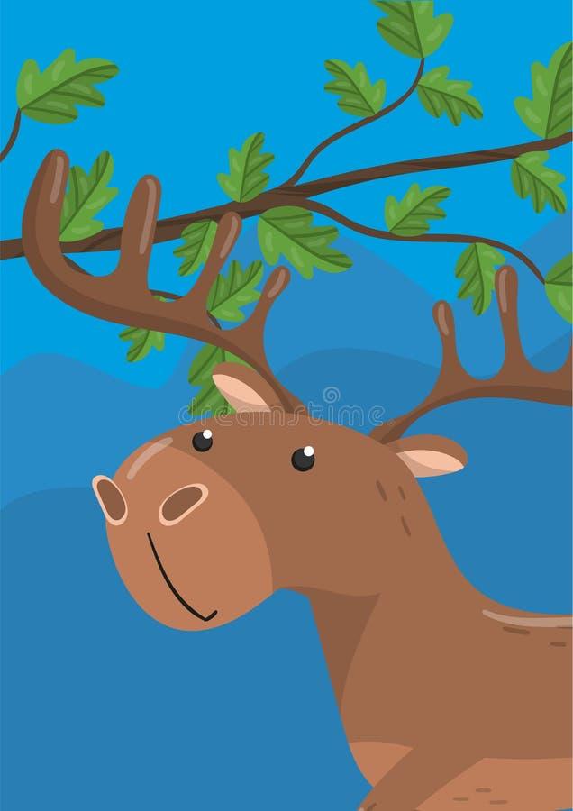 Gullig hjortvektorillustration med skogsmarkdjuret, designbeståndsdel för banret, reklamblad, plakat, hälsningkort, tecknad film stock illustrationer