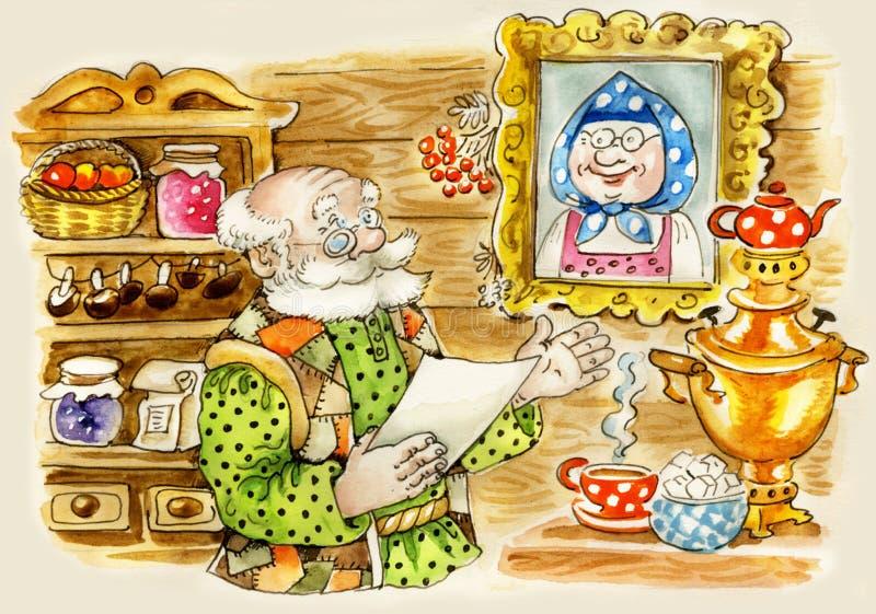 gullig home manpensionär royaltyfri illustrationer