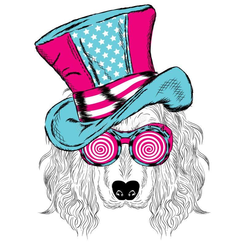 Gullig hund i en ovanlig hatt stock illustrationer