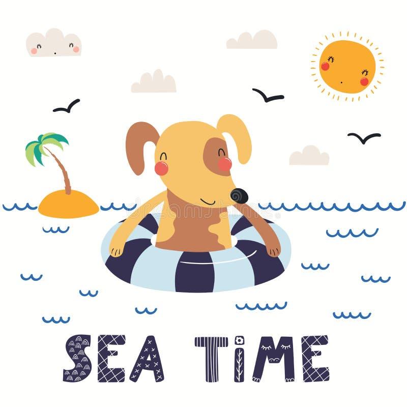 Gullig hund i sommar stock illustrationer