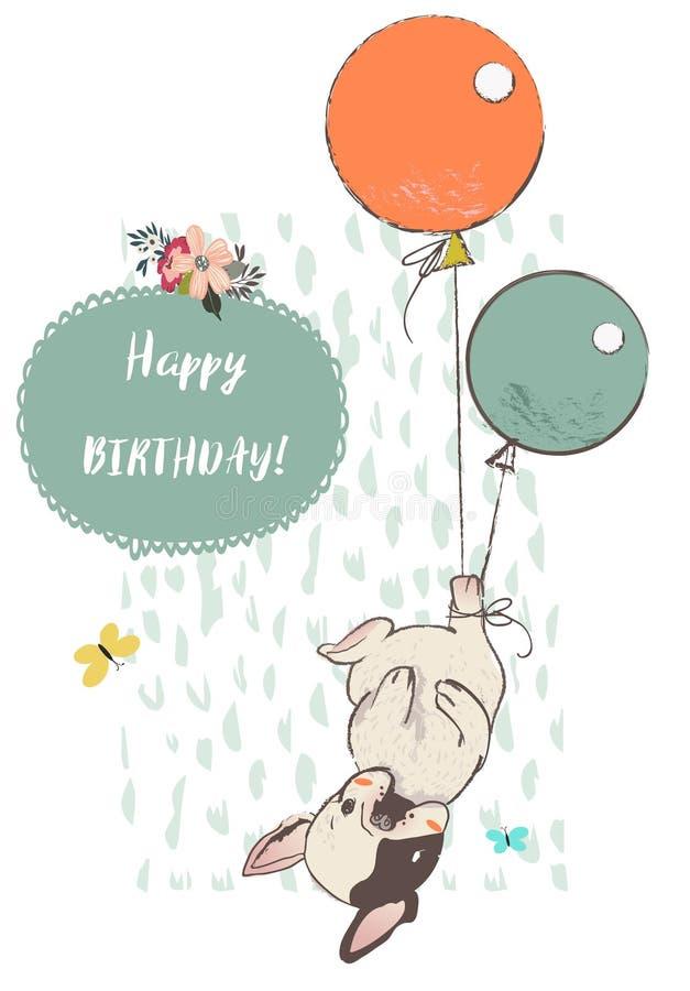 Gullig hund med ballonger vektor illustrationer