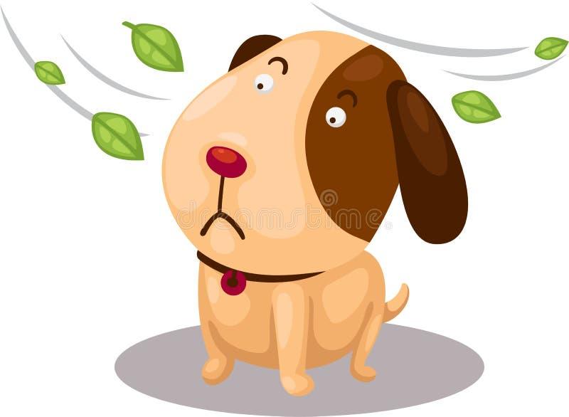 Gullig hund med starkt blåsigt royaltyfri illustrationer