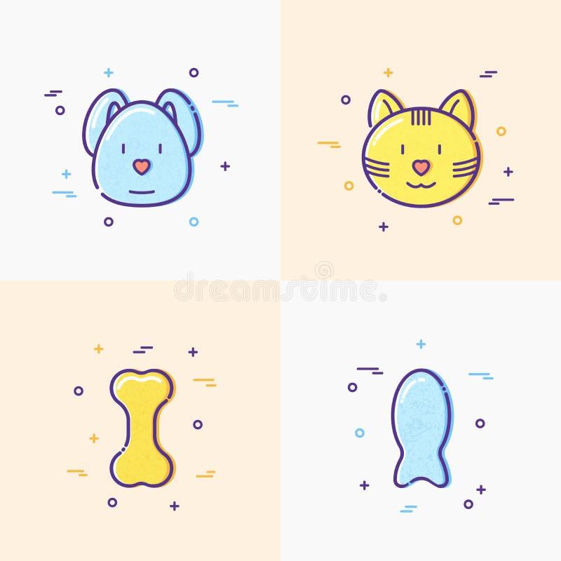 Gullig hund och katt, älsklings- mat, ben, fisklinje symboler royaltyfri illustrationer