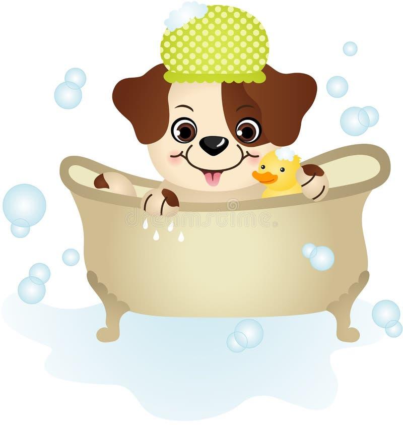 Gullig hund som tar ett bad royaltyfri illustrationer