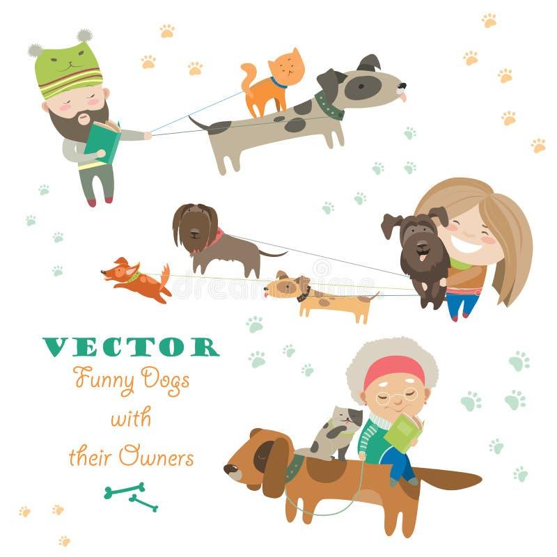 Gullig hundkapplöpning med deras ägare vektor illustrationer
