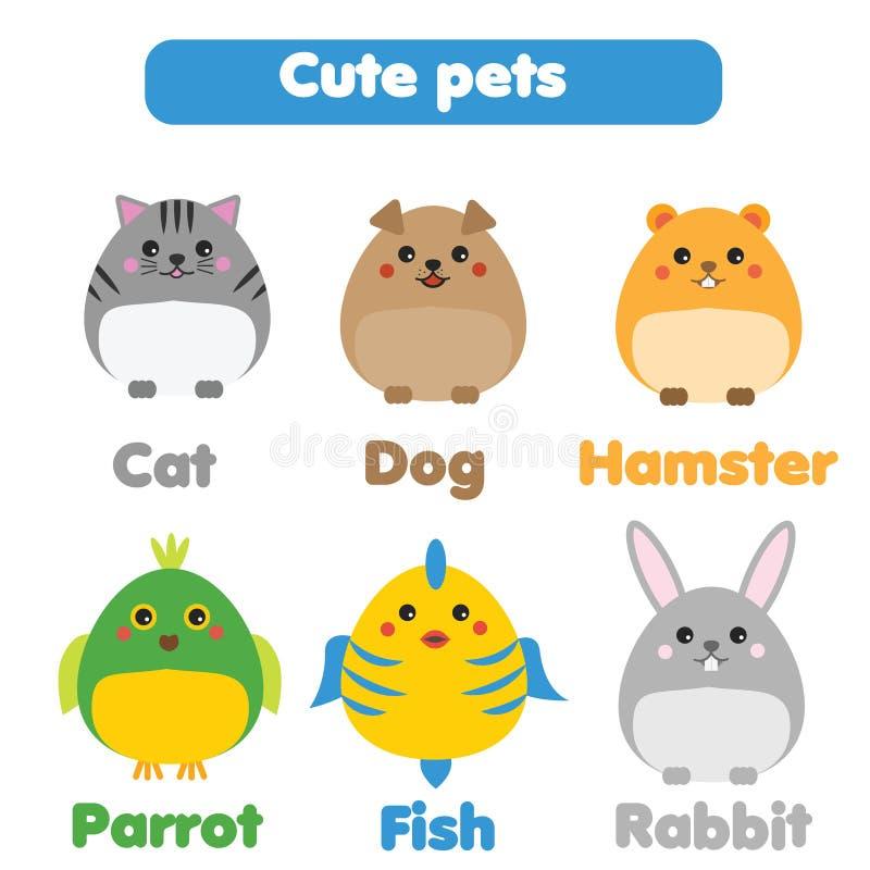 Gullig husdjuruppsättning Barn utformar, isolerade designbeståndsdelar, vektorillustration royaltyfri illustrationer