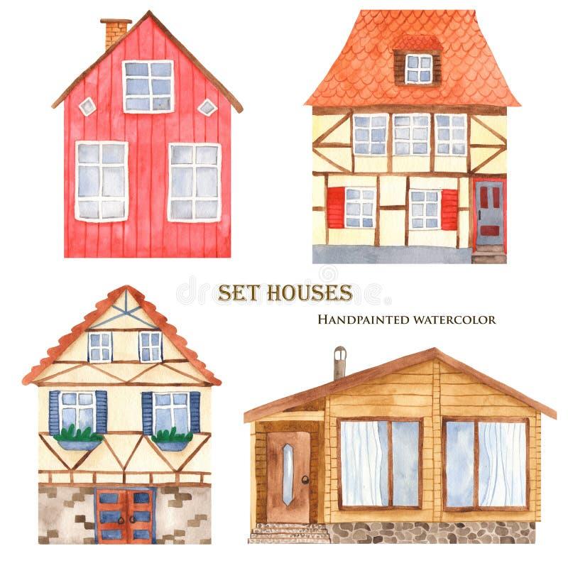 Gullig husuppsättning för vattenfärg vektor illustrationer