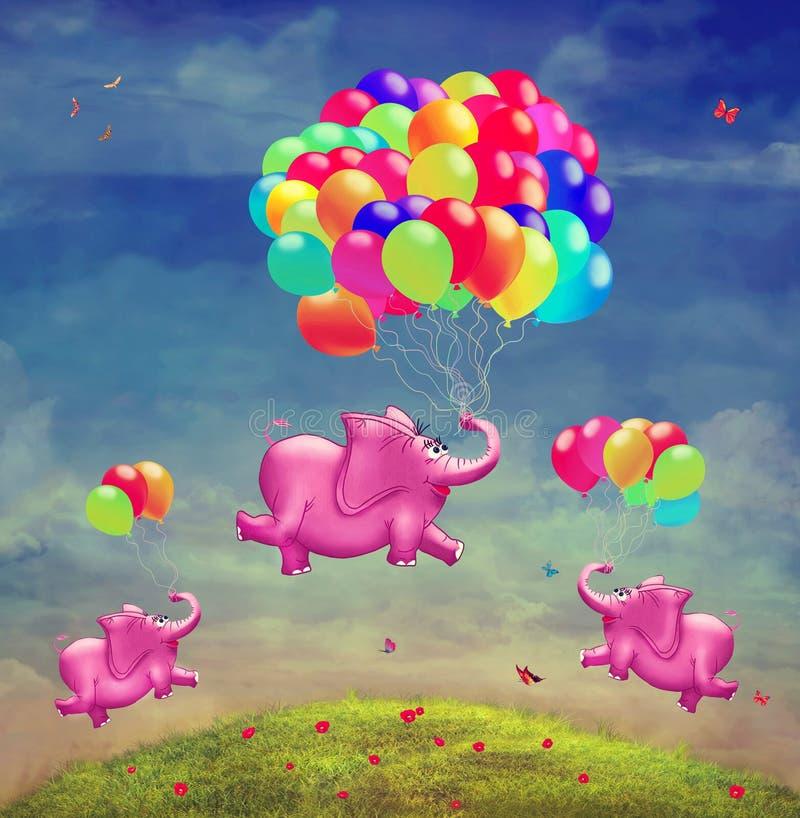 Gullig illustration av flygelefanter med ballonger vektor illustrationer