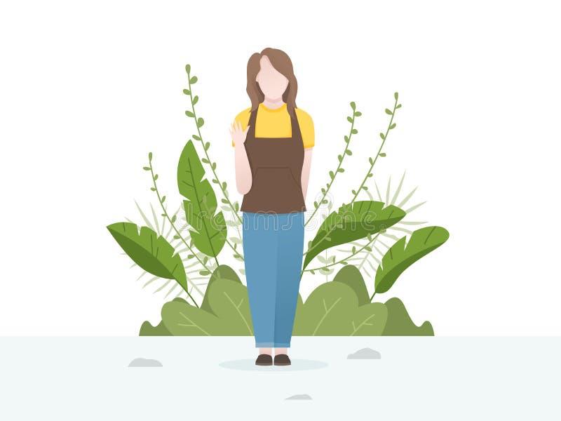Gullig illustration av unga kvinnor med blomma- och växtbakgrund royaltyfri illustrationer