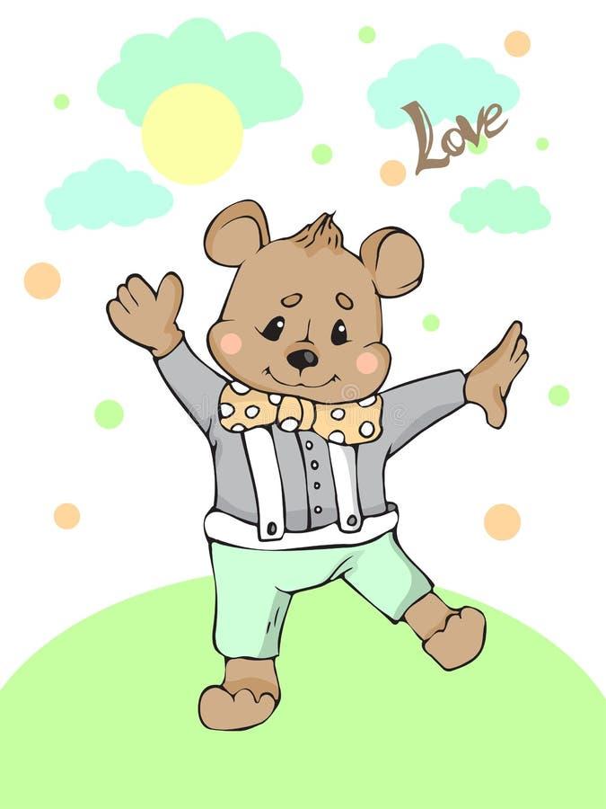 Gullig illustration för björntecknad filmvektor stock illustrationer