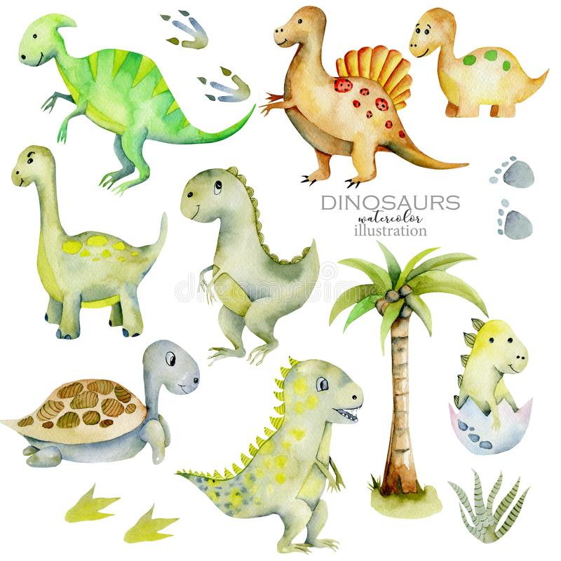 Gullig illustration för dinosauriesamlingsvattenfärg stock illustrationer