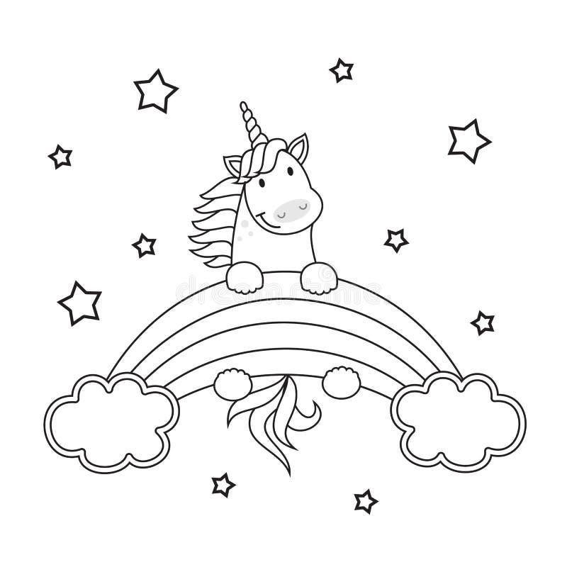 Gullig illustration för enhörningvektorlinne för färgläggningbok bakgrund isolerad white vektor illustrationer