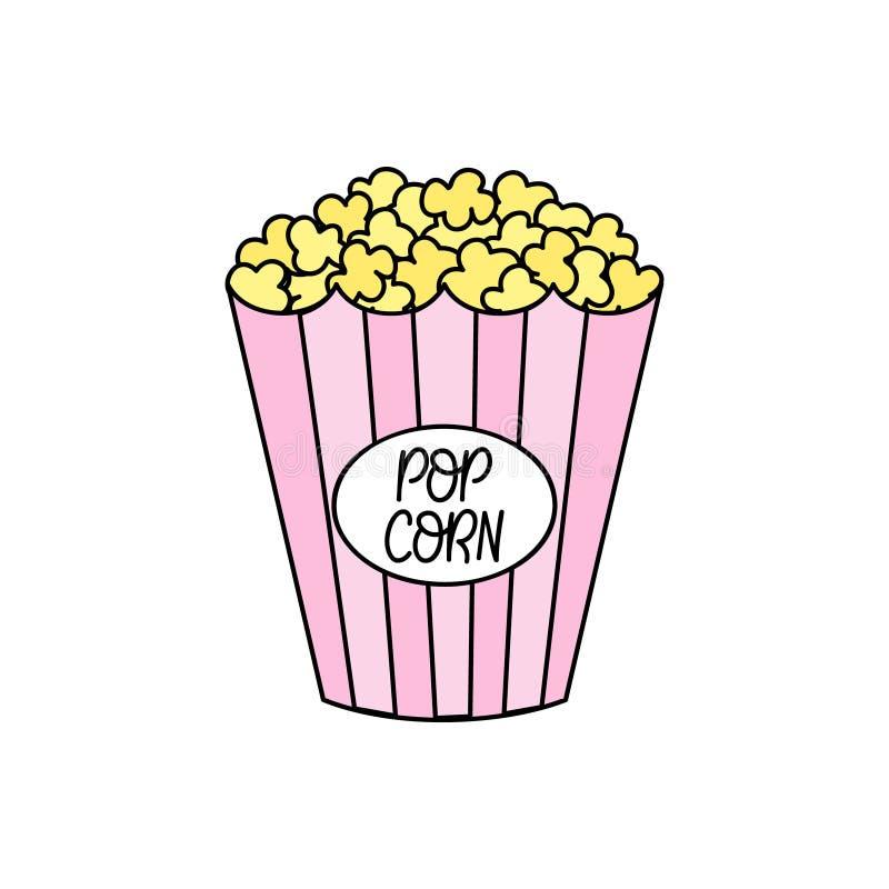 Gullig illustration för popcornmellanmålvektor stock illustrationer