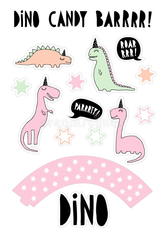 Gullig illustration för stång för dinosaurievektorgodis Kaka Topper Set Hand drog rosa färger, gröna och beigea Dinos för mintkar vektor illustrationer