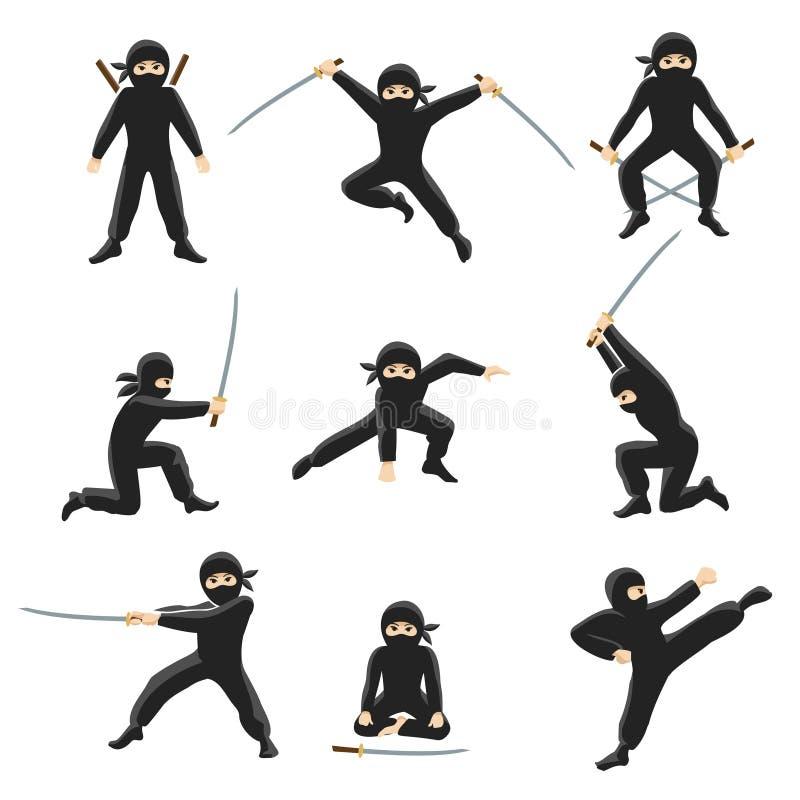 Gullig illustration för tecknad filmninjavektor Sparka och hoppa ninjas som isoleras på vit bakgrund stock illustrationer