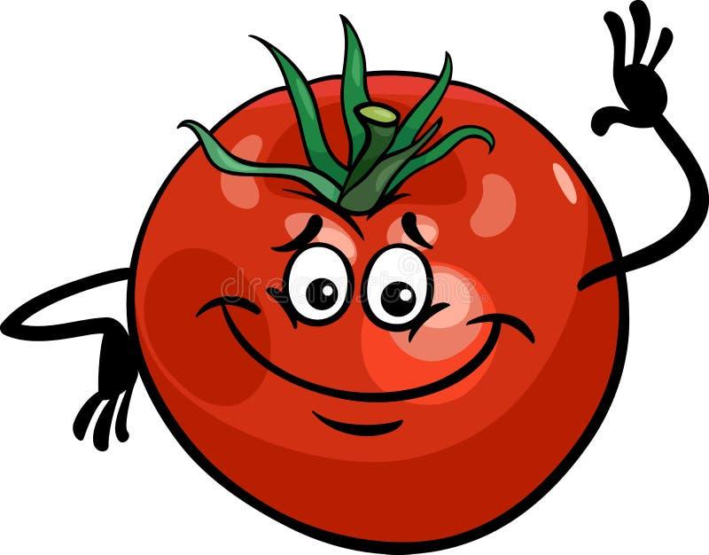 Gullig illustration för tomatgrönsaktecknad film royaltyfri illustrationer