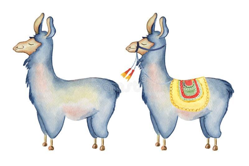 Gullig illustration för vattenfärg för lamatecknad filmtecken fastställd, Alpacadjur, hand dragen stil Isolerad vitbakgrund vektor illustrationer
