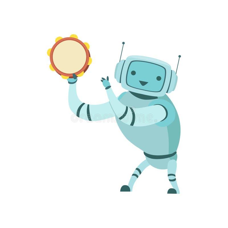 Gullig illustration för vektor för robotmusikerPlaying Tambourine Musical instrument stock illustrationer