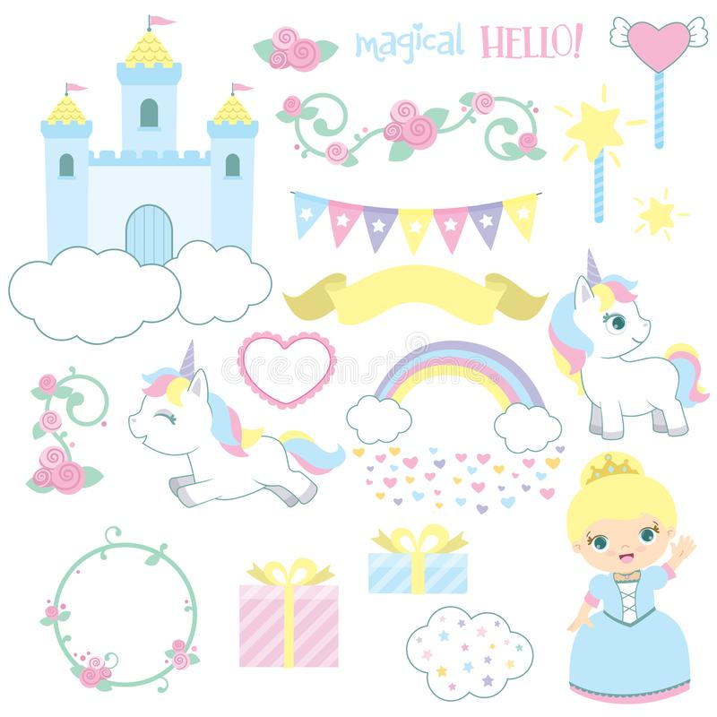 Gullig illustration för vektor för sagaslottprinsessa som Unicorn Birthday Design Elements Set isoleras på vit royaltyfri illustrationer