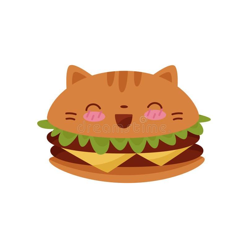 Gullig illustration för vektor för tecken för tecknad film för hamburgareKawaii mat på en vit bakgrund stock illustrationer