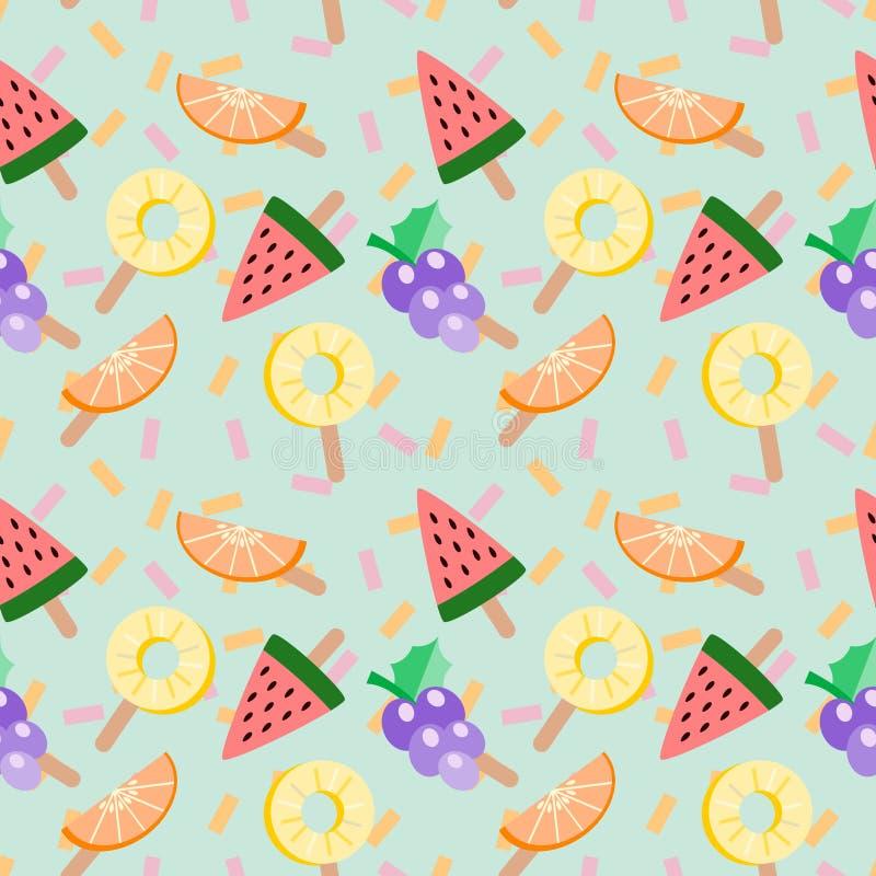 Gullig illustration för vektor för tropiska frukter för glass Seamless tropiska frukter mönstrar Sommar och friskhetbegrepp stock illustrationer