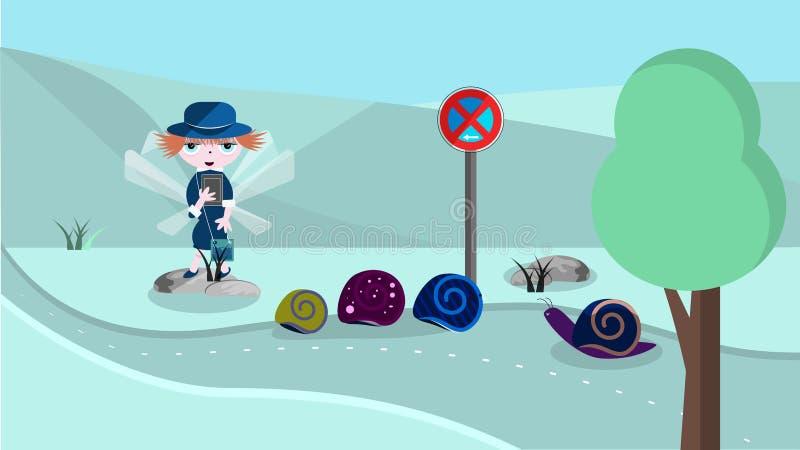 Gullig illustration med poliskvinnan stock illustrationer