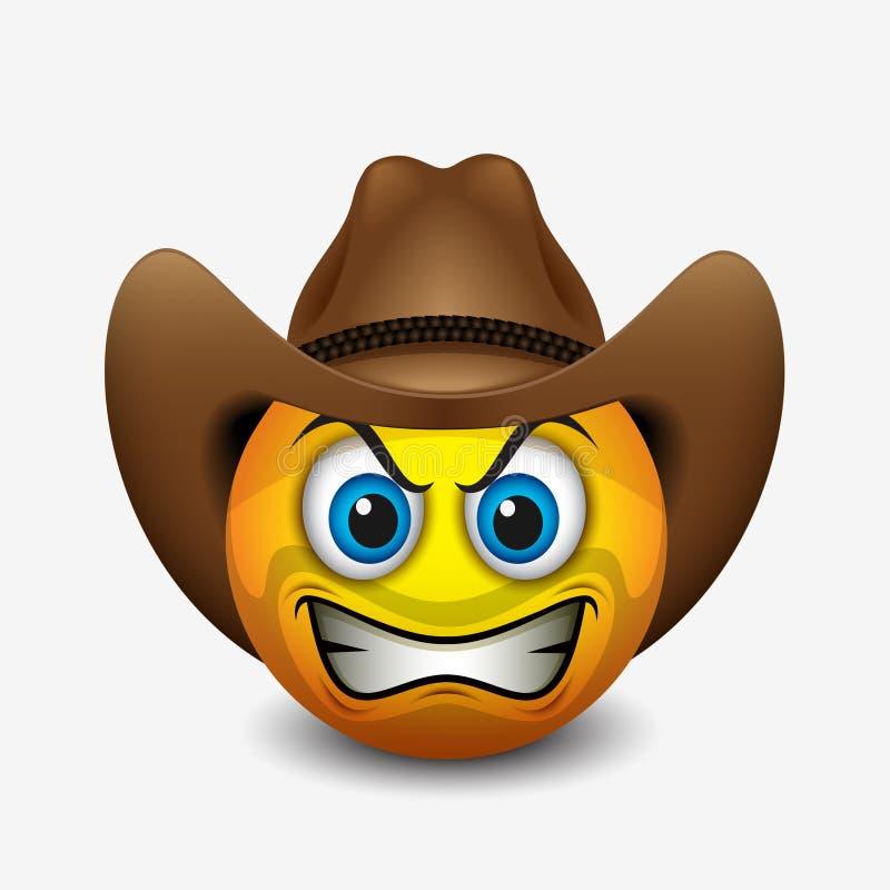 Gullig ilsken cowboyemoticon, emoji - vektorillustration royaltyfri illustrationer