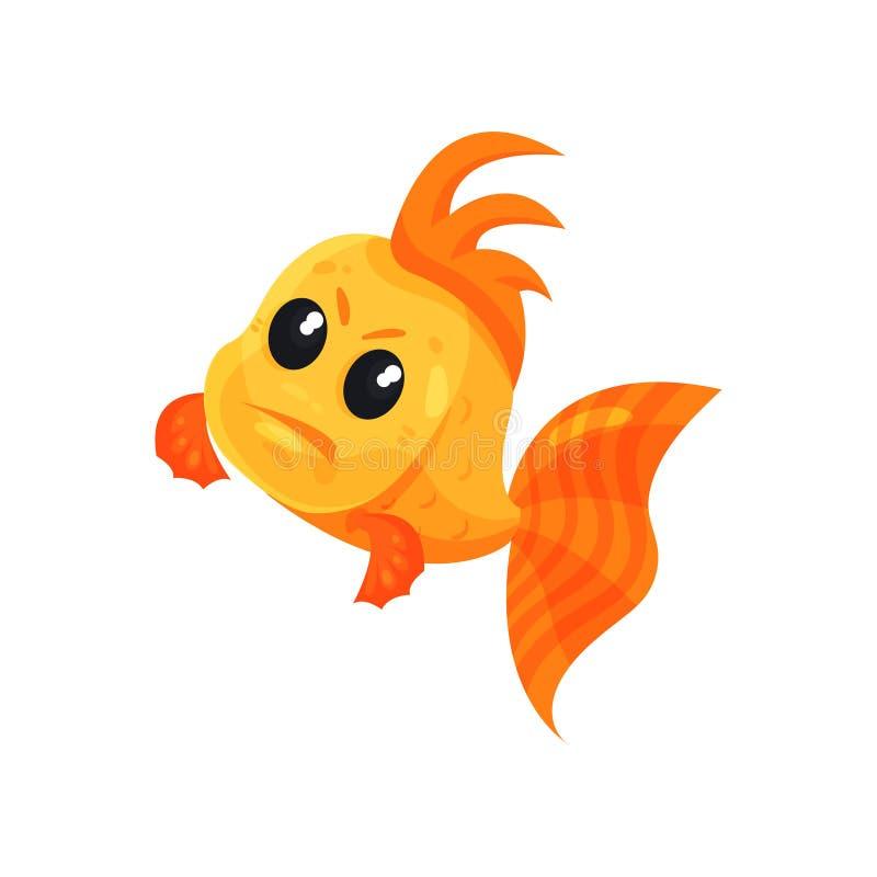 Gullig ilsken guldfisk, rolig illustration för vektor för fisktecknad filmtecken på en vit bakgrund stock illustrationer