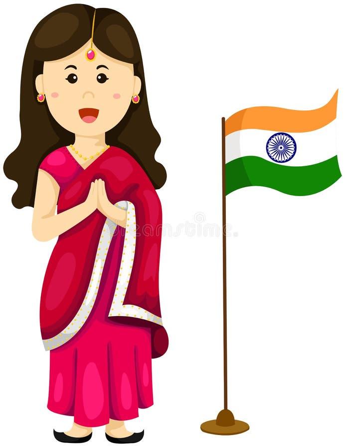 Gullig indisk flicka i traditionell klänning vektor illustrationer