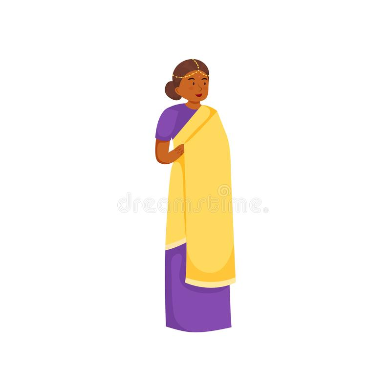 Gullig indisk kvinna i traditionell färgrik kläder som är purpurfärgad royaltyfri illustrationer