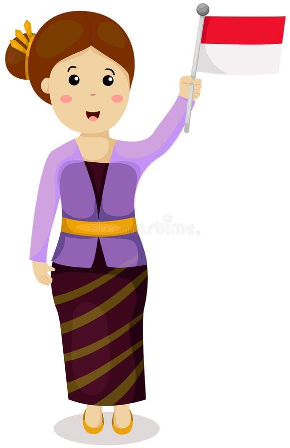 Gullig indonesisk flicka i traditionell klänning stock illustrationer