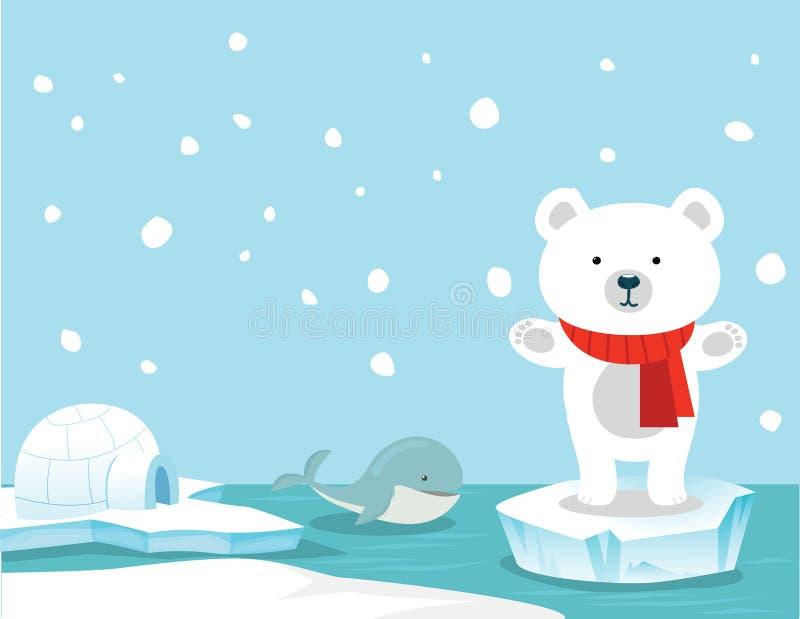 Gullig isbjörn- och valbakgrund royaltyfri illustrationer